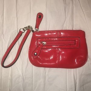 NY&Co. Red Vinyl Leather Wristlet